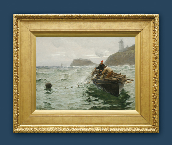 charles napier hemy along shore fishermen signed and dated 1890 in a watts frame
