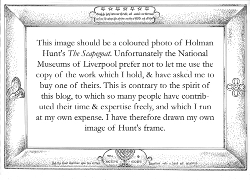 Holman Hunt Scapegoat b & w drawing & text sm | The Frame Blog