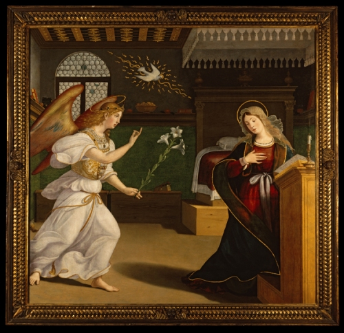 Andrea Previtali The Annunciation c1520to25 Memphis Kress image sm