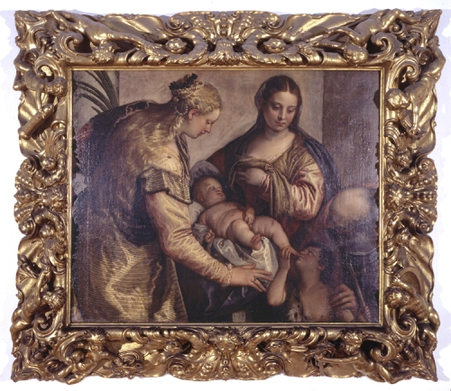 Veronese Holy Family w Sts Barbara & John the Baptists Whole pic sm