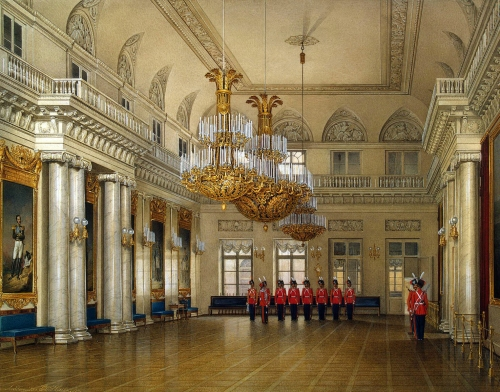 E Gau Field Marshal Hall in the Winter Palace watercolour 1866