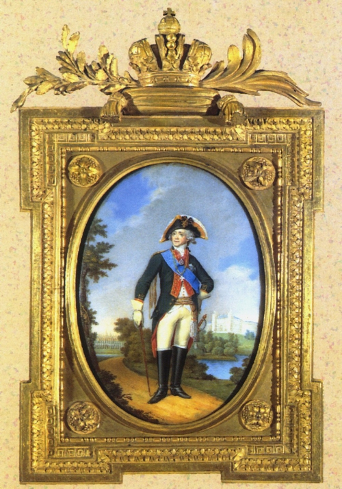 Miniature portrait of Emperor Paul I in NeoClassical trophy frame