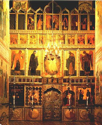 The iconostasis of the Annunciation Cathedral in Moscow Kremlin