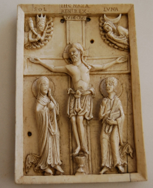 Ivory plaque with the Crucifixion between Mary and St John German c1130 Trustees of the British Museum sm