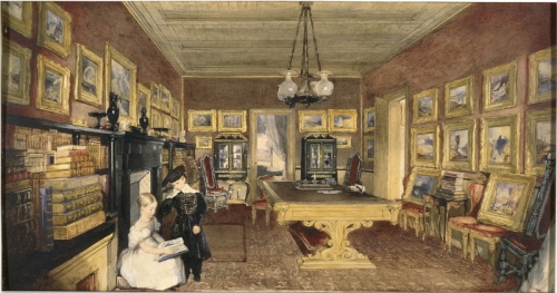 John Scarlett Davis BG Windus s library with his collection of Turners 1835 watercolour BM sm