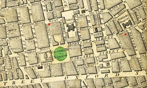 Map of London 1804 Wallis s via MapCoNet detail