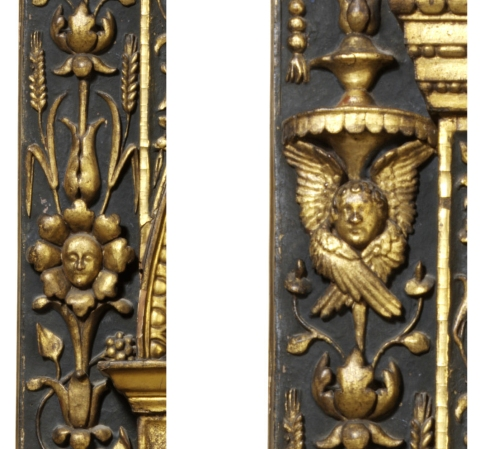 Outer pilaster with sun moon corn and cherubim