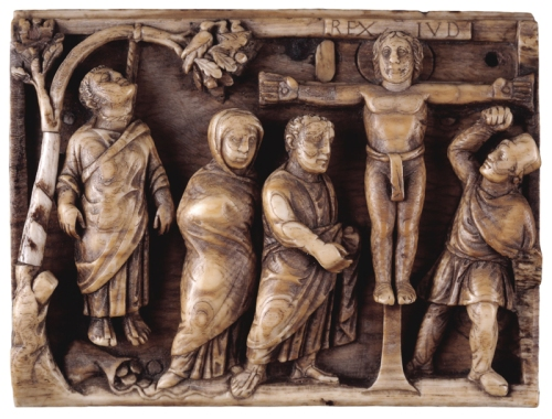 Panel from an ivory casket the Crucifixion of Christ Late Roman AD420to30 Trustees of British Museum sm