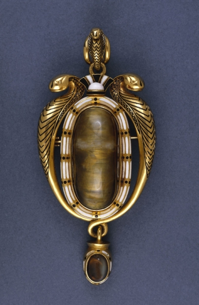 Phillips Brothers Gold & enamel pendant Egyptian Revival style 1863to70 BM sm