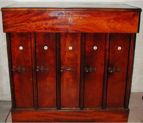 Ruskin Mahogany cabinet for Turner w cols 1861 prob by Wm & Edwd Snell Fitzwilliam