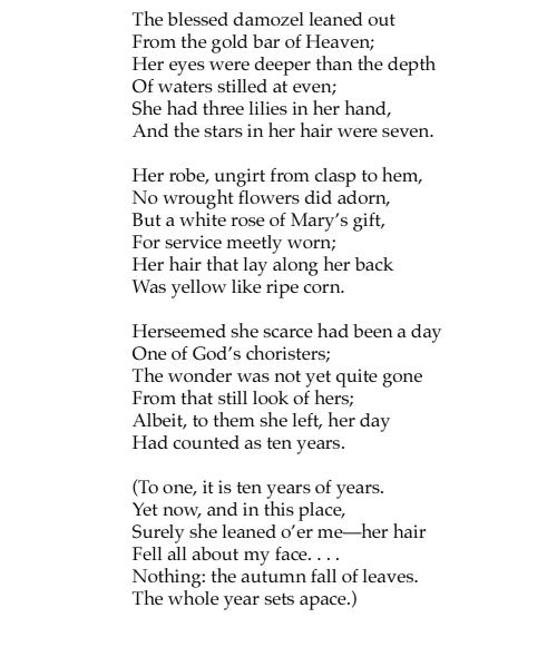 Rossetti The Blessed Damozel poem