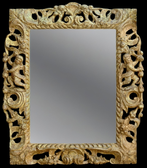 An English 17th Century carved & gilded Carolean frame Perceval Designs sm
