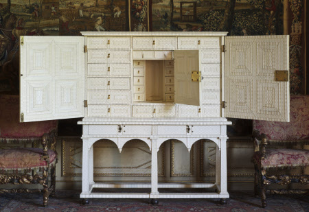 Ivory cabinet, c1655-1660, probably Flemish or Dutch, in the North Drawing Room at Ham House, Richmond-upon-Thames
