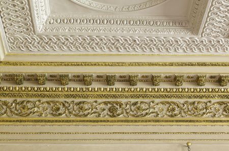 Detail of the cornice and frieze in the Hall Gallery at Ham House, Surrey.