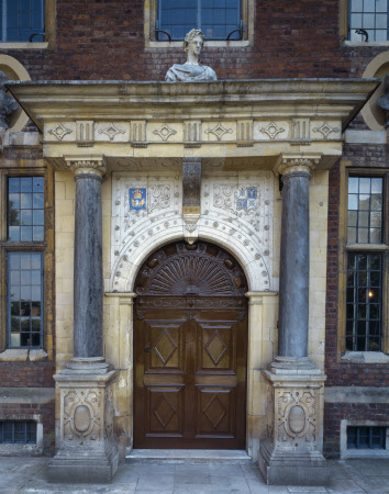 The elaborate front entrance at the North Front of Ham House, Richmond-upon-Thames