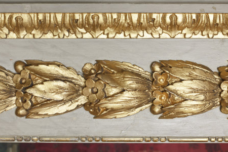 Close view of the gilded moulding in the Queen's Bedchamber at Ham House, Richmond-upon-Thames, Surrey.
