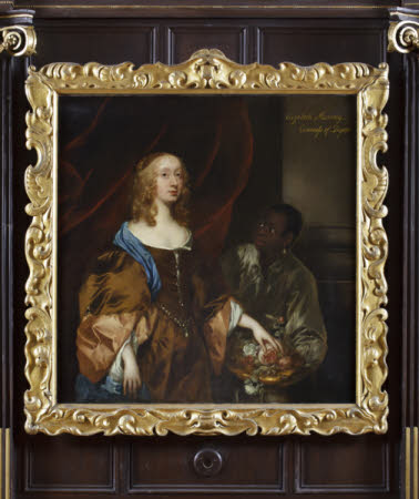 ELIZABETH MURRAY, LADY TOLLEMACHE, LATER COUNTESS OF DYSART AND DUCHESS OF LAUDERDALE WITH A BLACK SERVANT by Sir Peter Lely (1618-80), c.1651, painting in the Long Gallery at Ham House, Surrey.