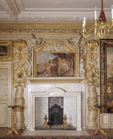 A close-up of the marble chimneypiece and overmantel in the North Drawing Room at Ham House, Richmond-upon-Thames, Surrey