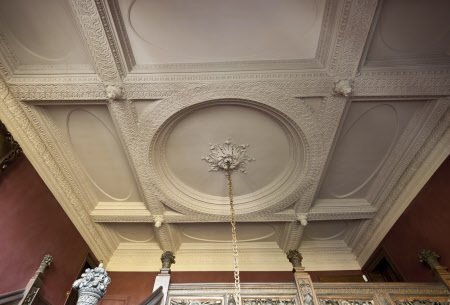 Plasterwork ceiling on the Great Staircase at Ham House, Richmond upon Thames, Surrey.