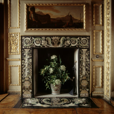 Detail of scagliola fireplace in the Queen's Closet at Ham House, Richmond-upon-Thames, Surrey
