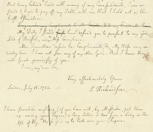 Samuel Richardson letter 1754