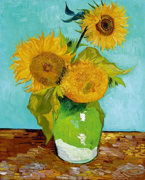 Three Sunflowers 1888 oil on canvas priv coll sm