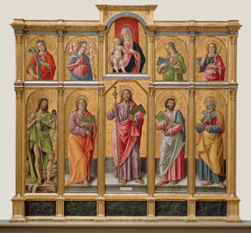 Polyptych with Saint James Major, Madonna and Child, and Saints