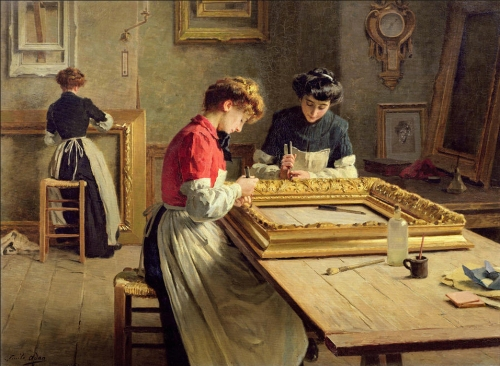 Louis Emile Adan Interior of a frame gilding workshop Musée d Angers 2