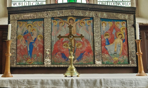 Reredos St Mary s Longworth Painted by Kate Bunce 1856to1927 sm