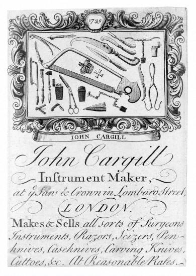 L0015034 Trade card of John Cargill, instrument maker.