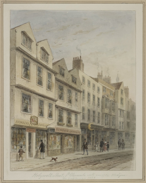 Thomas Hosmer Shepherd  1793to1864 Holywell St St Clements 1853 BM image sm