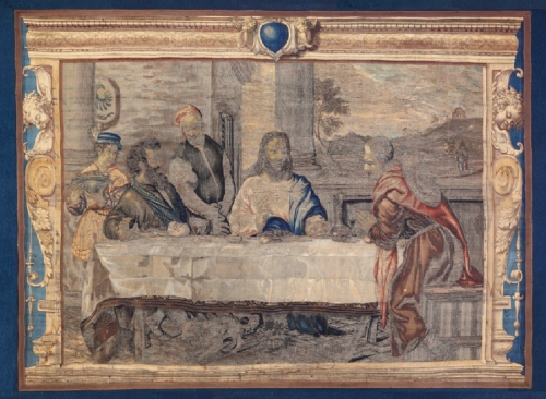 Tapestry after Titian Supper at Emmaus c1630to40 Mortlake Hardwick Hall NT sm