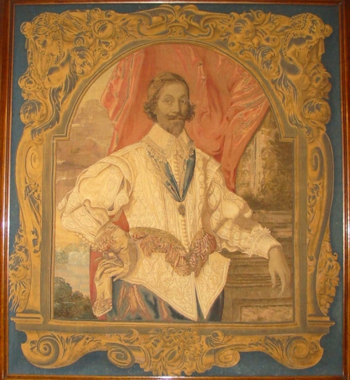 Tapestry portrait of Sir Francis Crane c1626to36 Mortlake Ingatestone Hall Essex sm