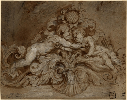 Van Dyck drawing Cupids & sunflower British Museum sm