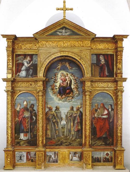 Girolamo da Santacroce Virgin & saints polyptych Franciscan convent 1535 Krk Kosljun ed sm