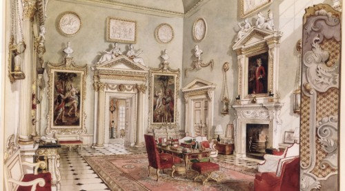 X Alexandre Serebrikoff The Great Hall Ditchley watercolour1930sto40s