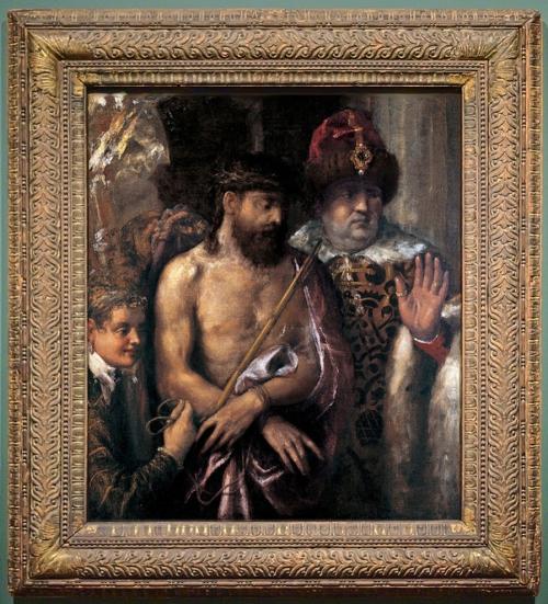 Titian Ecce Homo Renaissance parcel gilt walnut St Louis