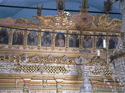 Iconostasis Stavros from Chios C19 detail crest Evangelistria Vouno Chios