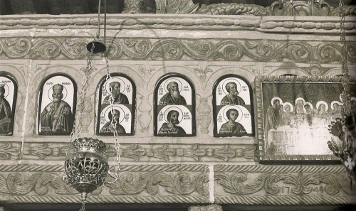 Icons painted on marble iconostasis 1744 Stavros Church Pirgos Tinos detail sm