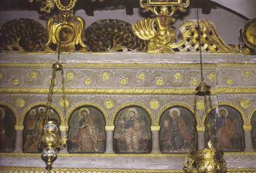 Icons painted on marble iconostasis 1817 Metamorfosi Church Pirgos Tinos sm