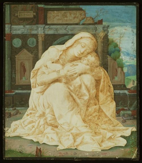 Mantegna Madonna della tenerezza pen ink & tempera on parchment Eremitani Museum Padua loan fr priv coll sm