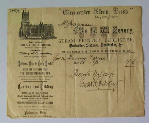 13 EWS Steam Press receipt for frame 1879 ed