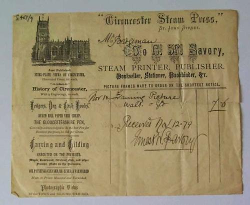 13 EWS Steam Press receipt for frame 1879 ed