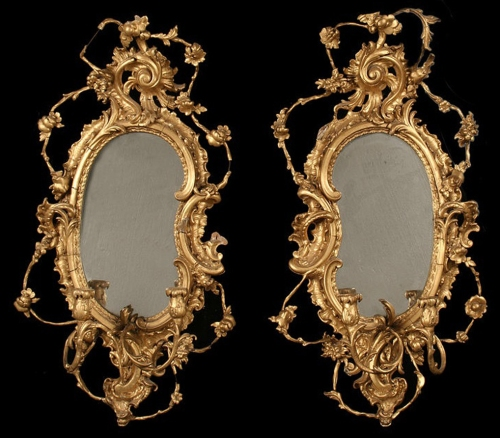 15 EW Savory Pair of giltwood & compo girandoles PICTURE only