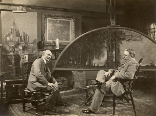 17 EWS in his studio with some of his works Unknown companion but probably another Bristol artist c1910.