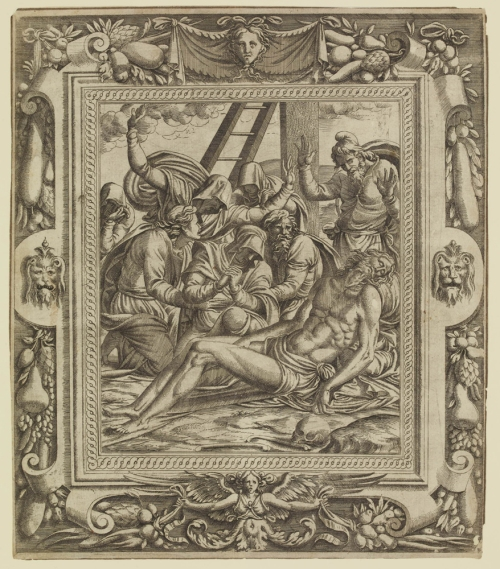 Jean Mignon after Luca Penni Lamentation etching British Museum ed sm