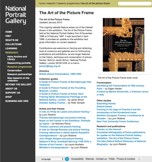 9 NPG Art of the Picture Frame 1st page