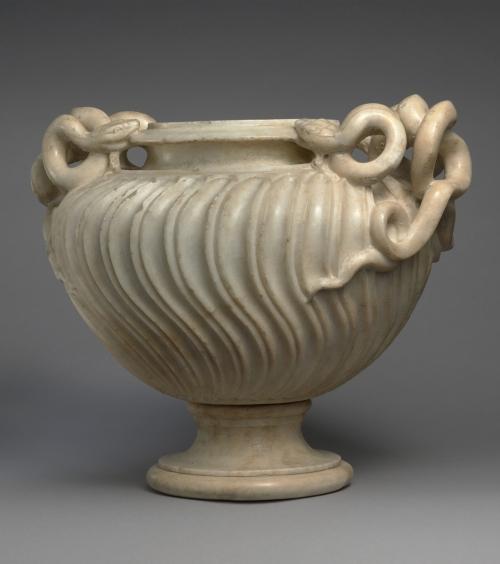 8 Roman Antonine strigillated marble vase 2nd half C2 AD Metropolitan Museum NY sm