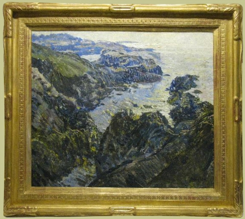 A Schofield The coast of Cornwall 1914in Newcomb Macklin frame Dryads Green Gallery sm