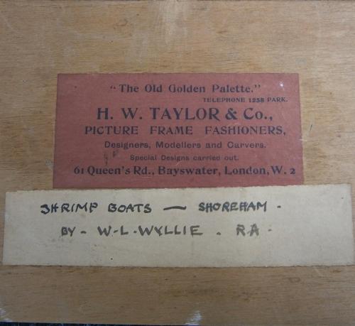 H W Taylor label on backboard of W L Wyllie sm